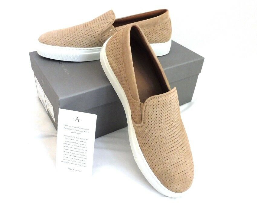 NIB Authentic Aquatalia Alisha Mini Embossed Suede Sneakers In Sand Slip On  295