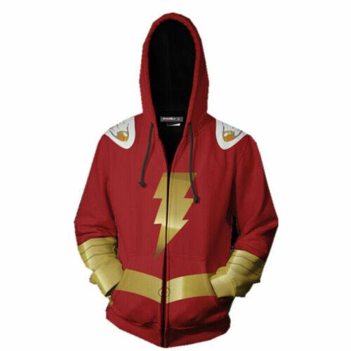 Flash Red Hoodie Shazam Billy Batson Jacket Sweatshirt Cosplay Superhero Costume