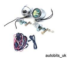 2 x Bright  Chrome Fog / Spot Lights Motorcycle Motorbike Car Van 58mm + Wiring