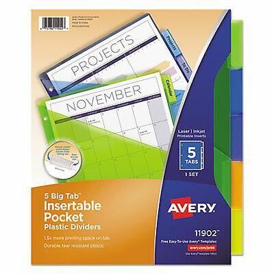 Avery Divider,Plst Pckt 5tb,Ast 11902 11902-1 Each