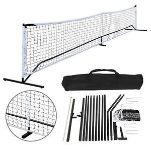 22FT Portable Pickleball Tennis Net W/Stand & Net &Carry Bag Steel Poles Outdoor
