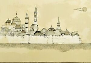 Ossi-Czinner-Citta-Fantastica-Litografia-Originale-Firmata-Prova-d-039-Autore-50x70