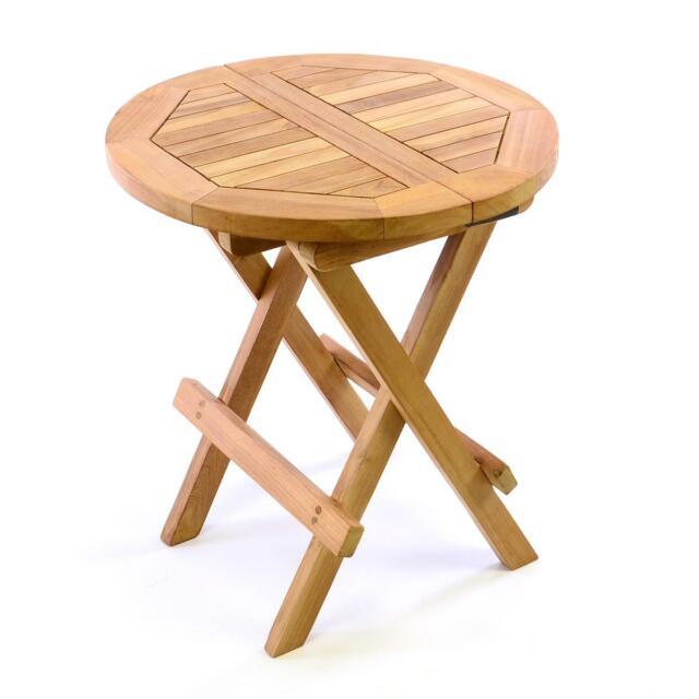 Divero Garten Balkon Beistelltisch Holz Teak Behandelt Klappbar rund Kindertisch