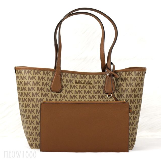 007ab7588fea New Michael Kors CANDY Brown Luggage Reversible Logo Tote Shoulder Bag and  Pouch