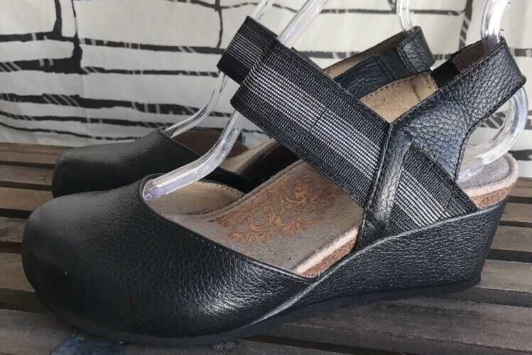 Aetrex Wouomo  Olivia  nero Leather Close Toe Wedge Sandals Dimensione 6 US