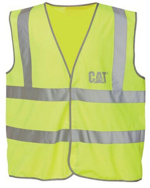 ce848a12f0b6 Caterpillar Mens Hi Vis Work Safety Vest Waistcoat Yellow ...