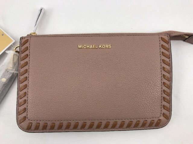 f97064b9831 NWT Michael Kors Lauryn Medium Zip Wristlet Gold Fawn Pebble Leather  Whipstitch