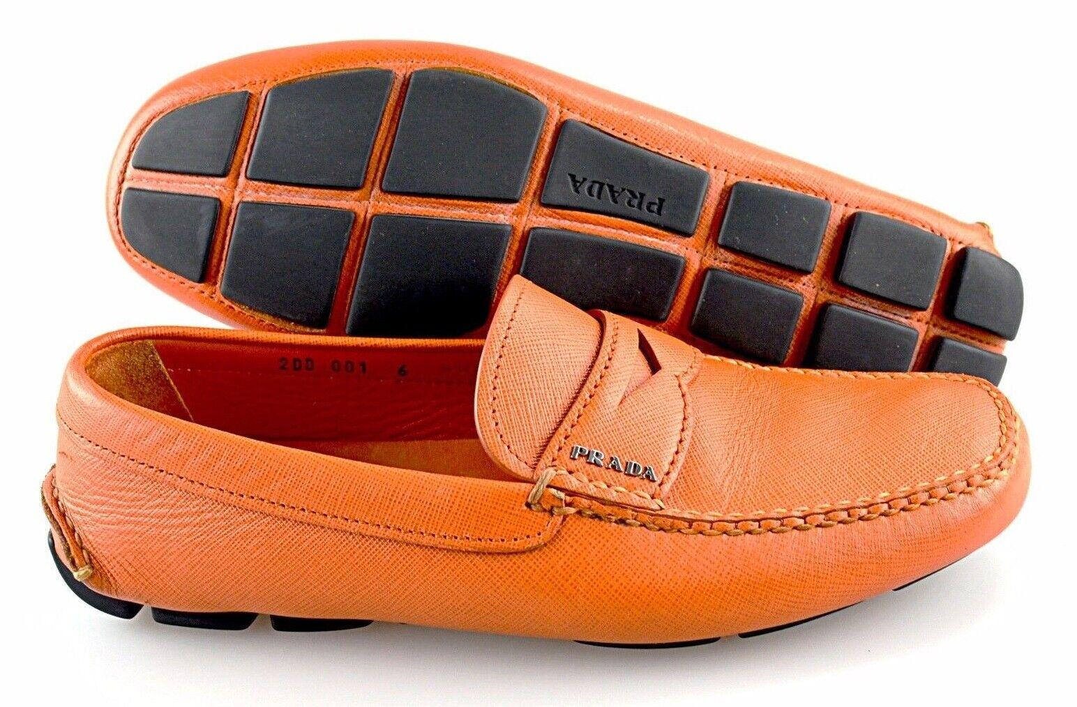 Men's PRADA 'Saffiano' orange Leather Loafers Size US 7 PRADA 6
