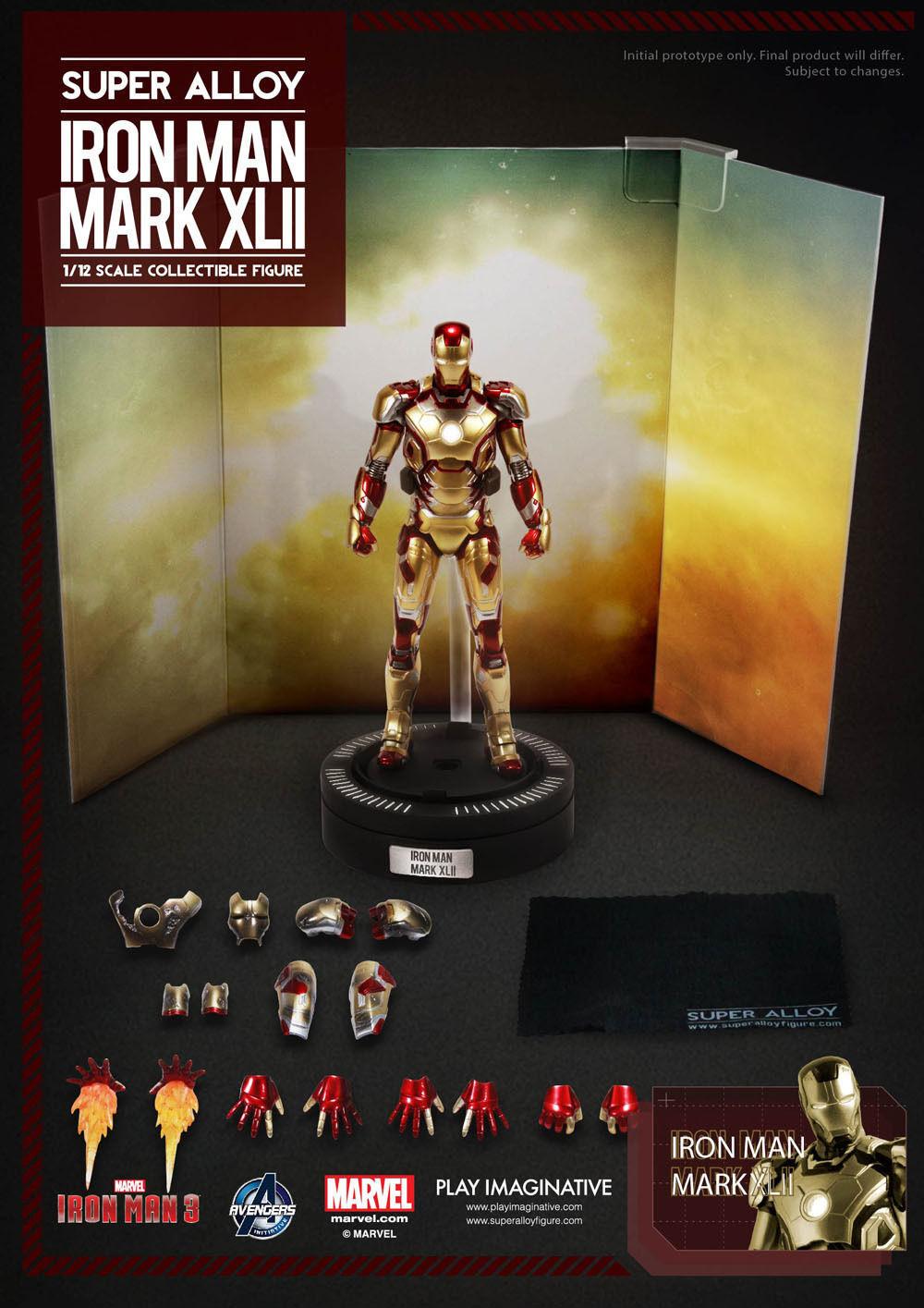 Mark 42 XLII 1 12 Iron Man Jugar Imaginative súper Alloy Diecast Figura de acción