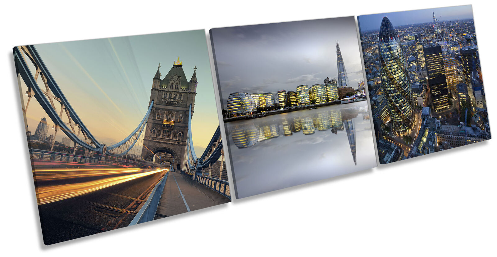 London Famous Landmarks Set of 3 CANVAS Wand Kunst Drucken Treble Multi-Colourot