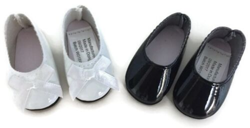"""White /& Black Dress Shoes for 14.5/"""" American Girl Wellie Wishers Wisher Dolls"""