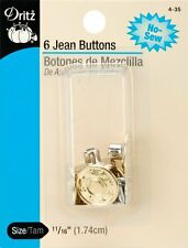 Dritz Jean Buttons Heavy Duty Replacement 6 Pack Gold No Sew 11/16 (1.74cm) NEW!