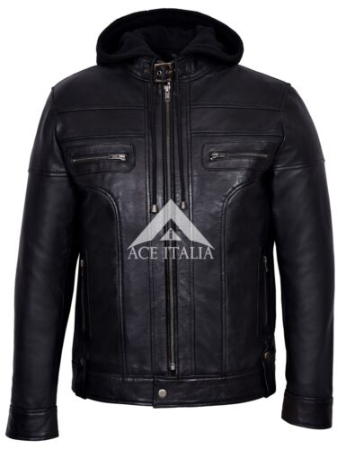 Clark homme noir à capuche Casual élégant Designer Bikers real leather jacket 8344