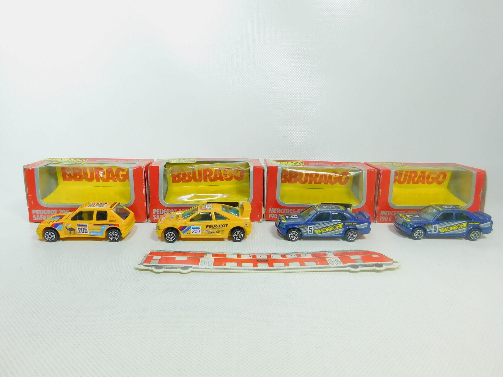 BO891-1 4x Burago 1 43 modellolo  4102 MB 190 e + 4116 4190 Peugeot,Molto Buono +