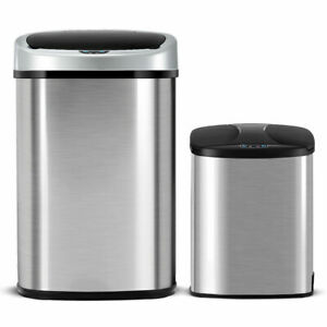 Set-of-2-Touch-Free-Motion-Sensor-Bin-Trash-Can-13-amp-2-3-Gallon-Stainless-Steel