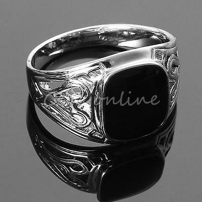Men's Black Square Onyx Silver Stainless Steel Fancy Finger Ring Punk Jewelry