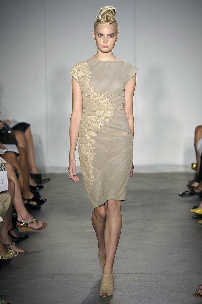 425 Catherine Malandrino Camel Beige Tulle Lace Ruched Sheath Dress 12 NEW C305