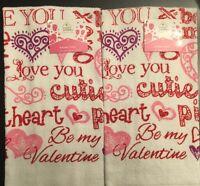 Set Of 2 Valentine Heart Words Cutie Love Red Kitchen Hand Tea Towels Cloths
