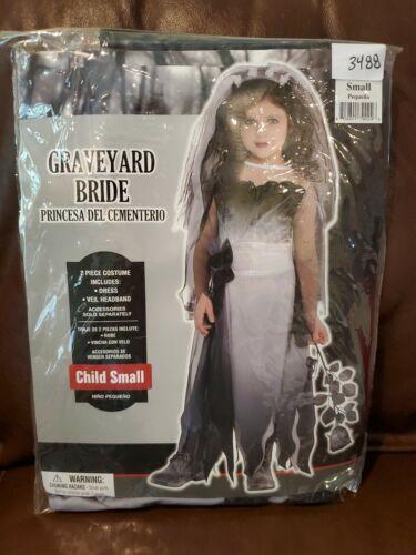 Details about  /Graveyard Bride Girls Child Small 4-6 Costume  Veil S Halloween Dress Up