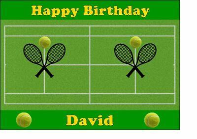 Brilliant Tennis Court Personalised Edible Birthday Cake Topper Easy Peel Funny Birthday Cards Online Alyptdamsfinfo