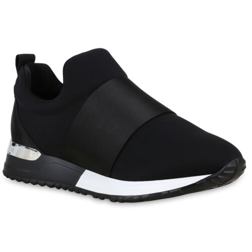 Damen Slip Ons Sportschuhe Satin-Optik Laufschuhe Fitness Sneaker 830007 Schuhe
