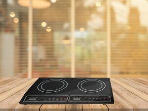 Placa de cocina 3300 W 3 fogones Vitroceramica Portatil Acero inoxidable Plata