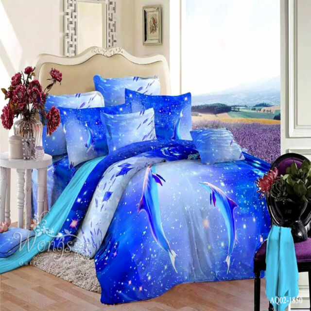 100%Cotton Dolphins Blue Quilt/Doona/Duvet Covers Set Queen Size Bed Pillowcases