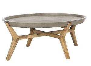 XL Oval Concrete Wood Coffee Table Bohemian Industrial Coastal - Oval concrete coffee table