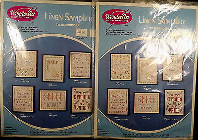Linen Samplers WonderArt Kits Lot of 2 Embroidery 1810 1812 Sealed Needlecrafts