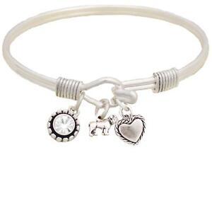 Bulldog Dog Breed Silver Wire Cuff Bangle Bracelet Jewelry Gift English French