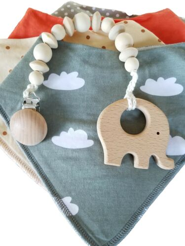 Wooden Teether Natural Baby Pacifier Clip Holder Dummy Chain Teething Beaded