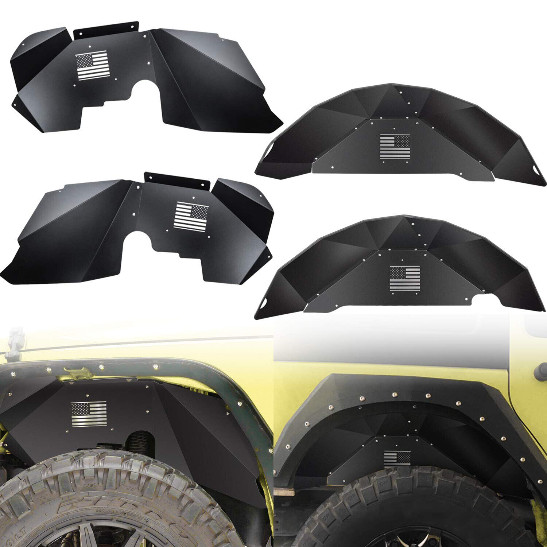 Front Inner Flat Fender Liner Flares Off-Road Fit 2007-2018 Jeep Wrangler JK 4WD