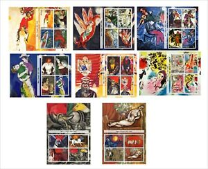 2011-MARC-CHAGALL-PAINTINGS-ART-8-SOUVENIR-SHEETS-MNH-UNPERFORATED