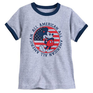 Disney Store Authentic Mickey Mouse Americana Boys T Shirt Size 2 3