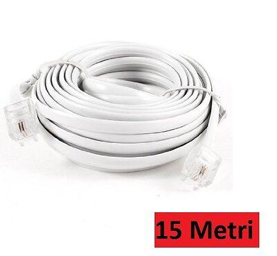 Prolunga Cavo Telefonico Telephone Cable 15 Metri Rj11 Connettore Plug Modem Hsb