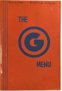 1952 The G Original Vintage Restaurant Menu