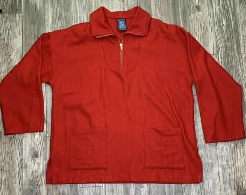 Lee Valley Smocks 1/4 Zip Large Red 100% Wool Pull