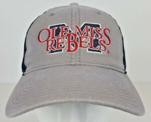 new product 4b978 c9df3 Image is loading Ole-Miss-Rebels-Blue-amp-Gray-Mesh-Back-