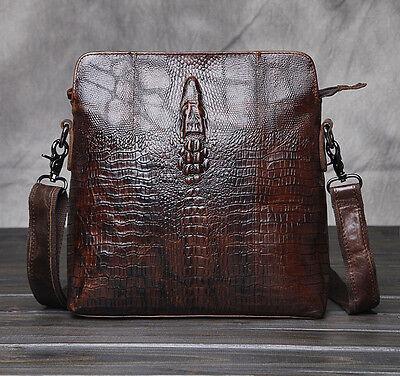 New Men Geunine Leather Vintage Crocodile Grain Shoulder Messenger Business Bag