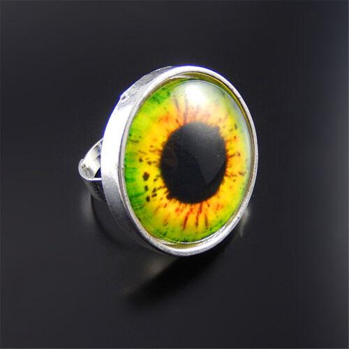 Fashion verre Cameo Gemstone Insert Anneaux Réglable Evil Eye Ring