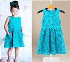 Fashion Kids Girls Dress Cyan Lace Floral Crochet Tutu Princess Party Dress 2-7Y