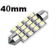 2 x 40mm weiß 16 SMD 12V LED Auto Innenraum Raffvorhänge Kuppel Glühbirnen 12844 DE440