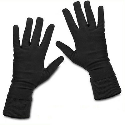 BLACK Pure Silk Liner Gloves Thermal Ski Inner Work Mittens Gloves - XS/S/M/L/XL