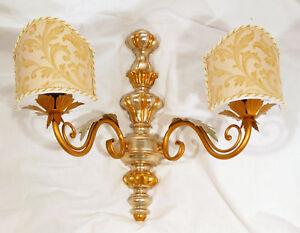 Applique lampada da parete art.480 foglia oro argento legno paralumi