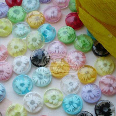 Mixed Chrysanthemum Flower 13mm Plastic Buttons Sewing Scrapbooking Craft JFB