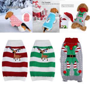 Christmas-Reindeer-Pet-Puppy-Cat-Dog-Sweater-Striped-Knit-Crocheted-Knitwear