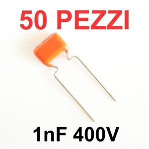 50 pezzi Condensatore Poliestere 1000pF 1nF 400V MKT PHILIPS