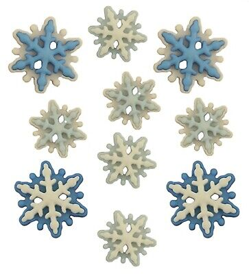 White BLIZZARD FLAT-BACK BUTTONS Winter Snowflakes Scrapbooking Card Making