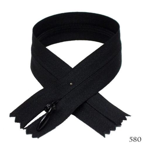 "12 pcs Quality BKC Invisible Zipper Top Open Bottom Closed 9/"" Black #580"
