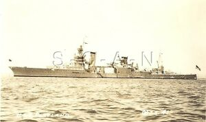 WWII Era- 1930s-40s EKC RPPC- US Navy- Warship- Heavy Cruiser- USS Portland